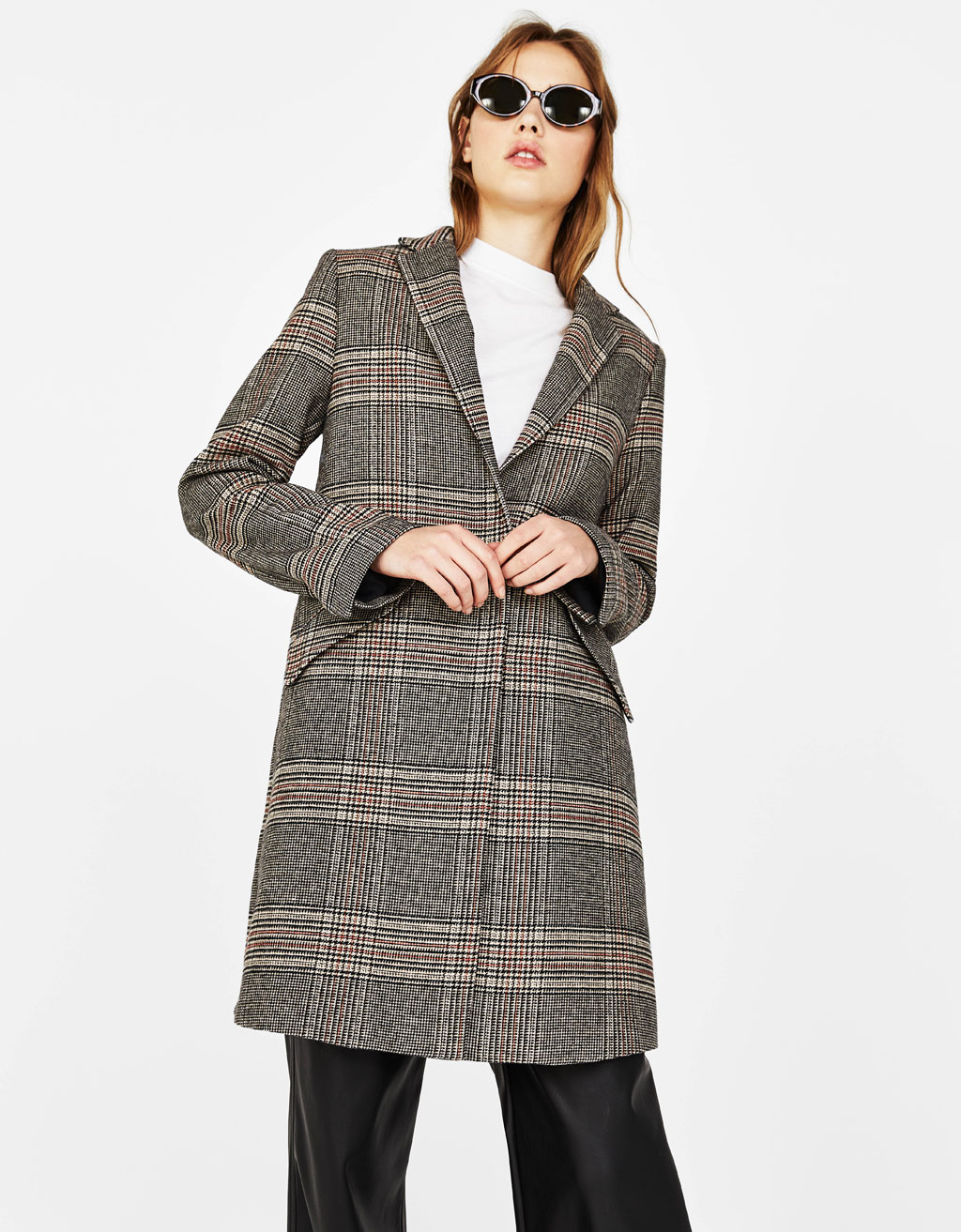 Straight cut checked coat