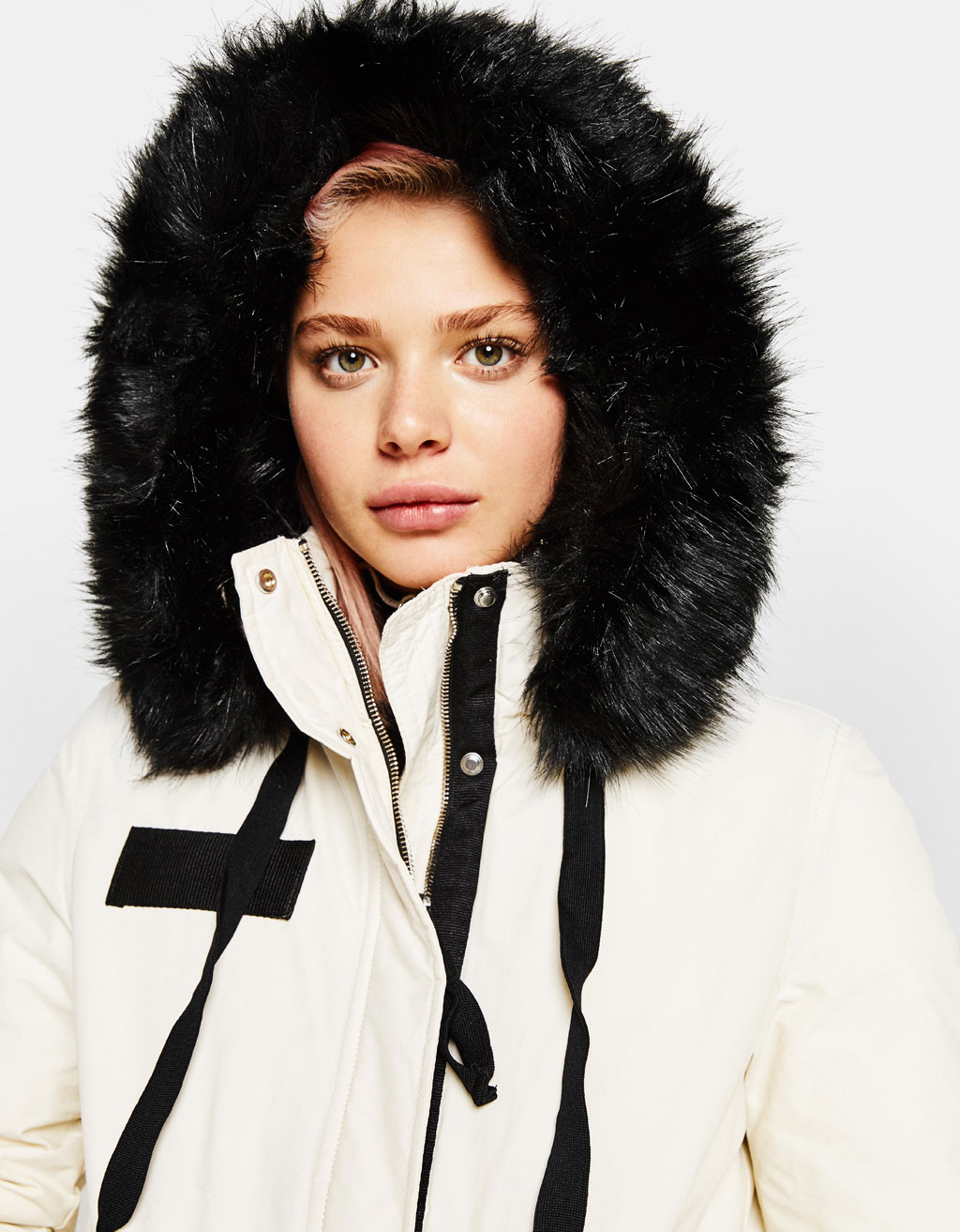 Parka with faux shearling hood