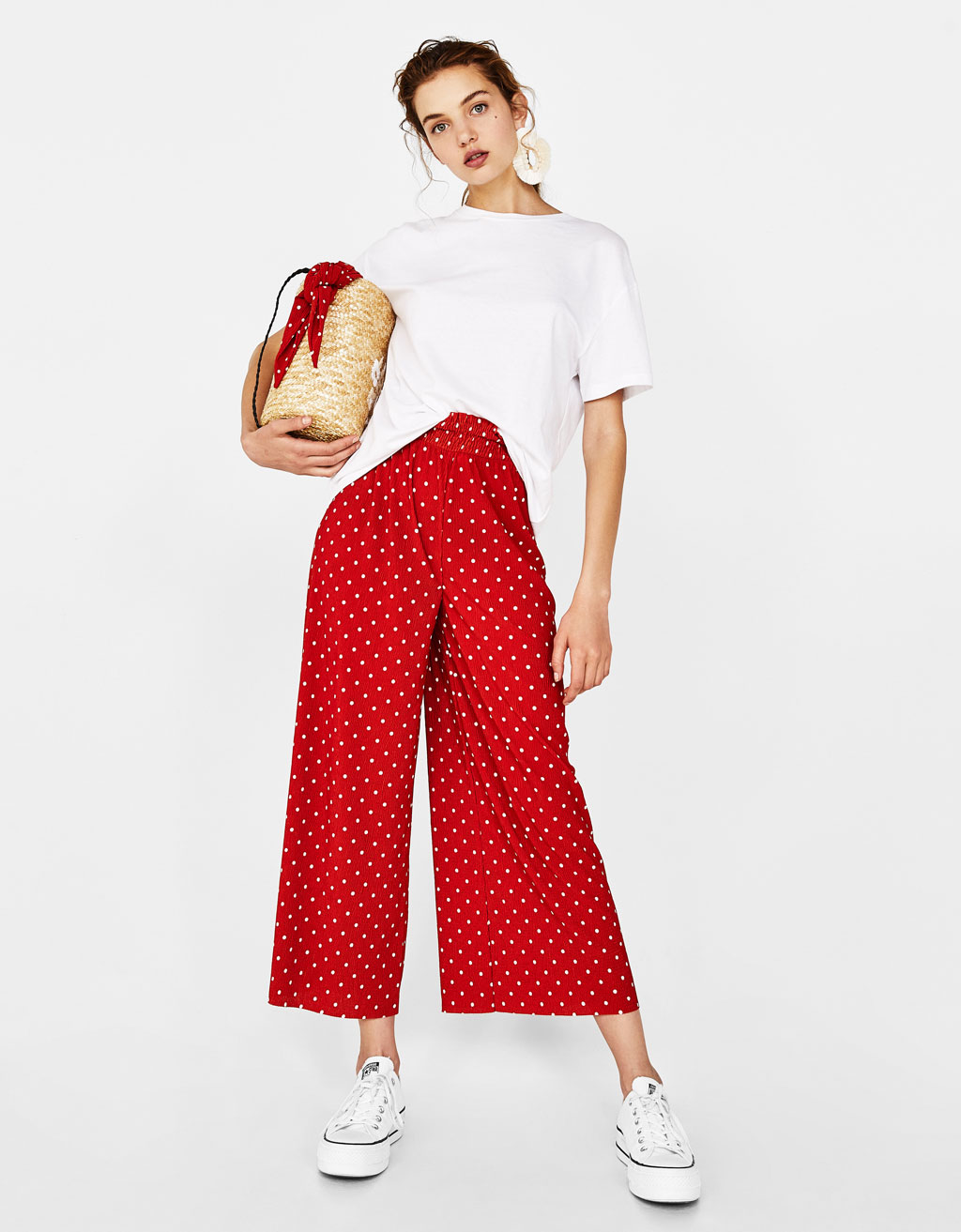 Crinkled culottes with print
