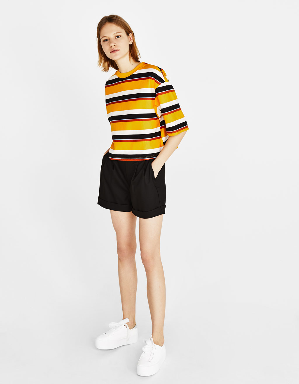Oversized short sleeve striped sweatshirt