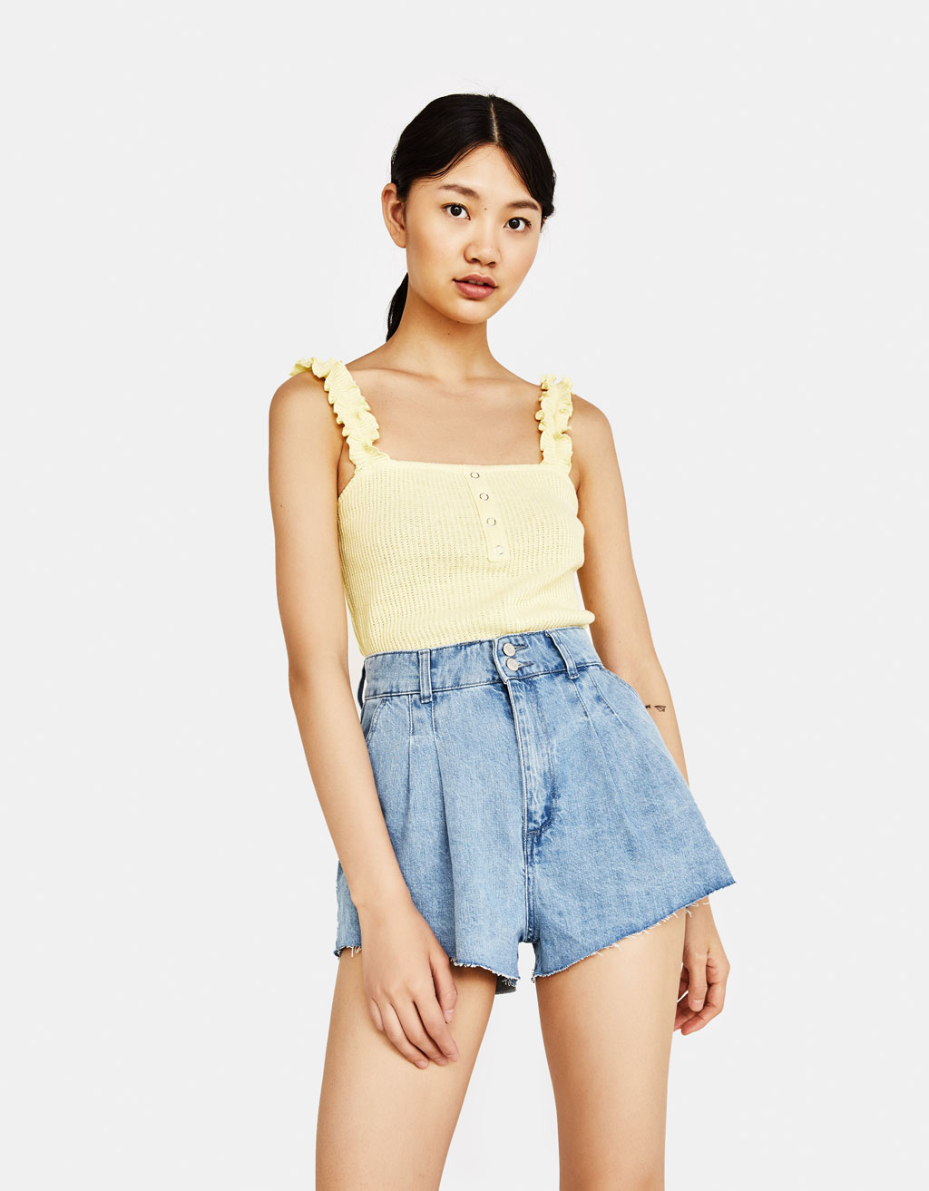 Top with ruffled straps