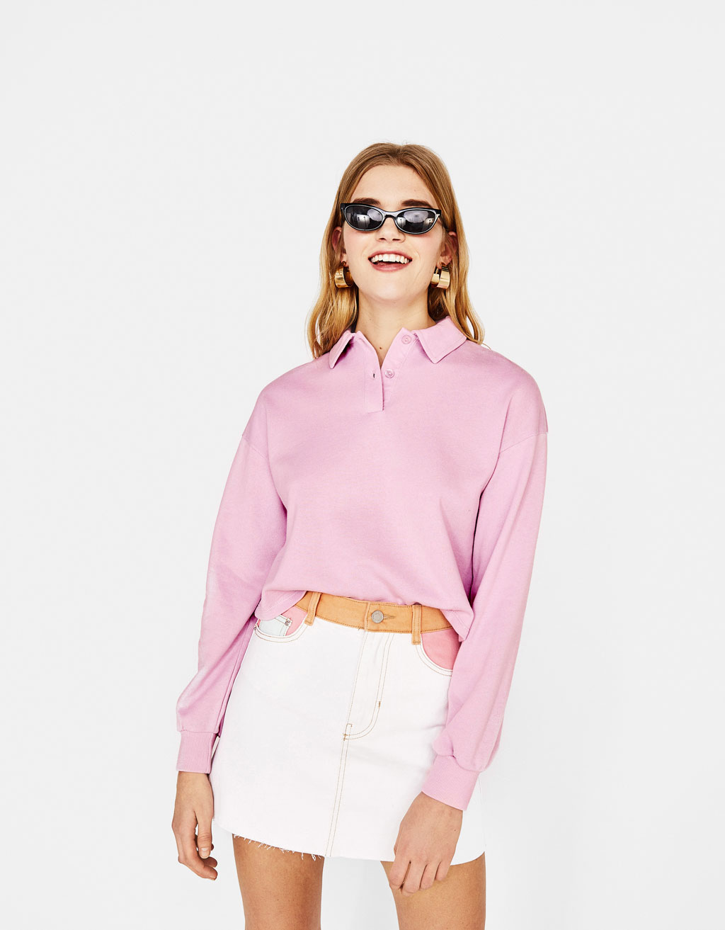 Cropped polo neck sweatshirt