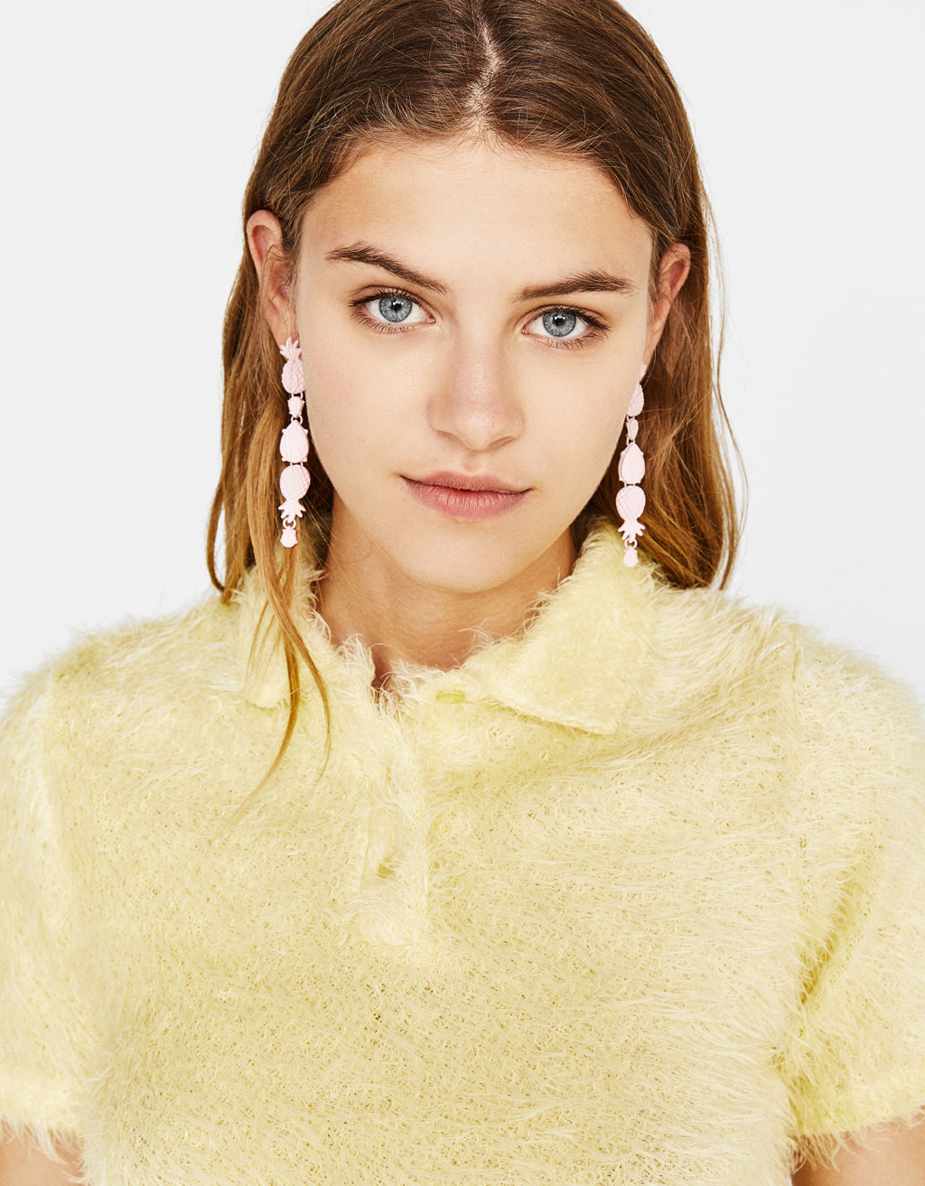 Fuzzy sweater with polo collar