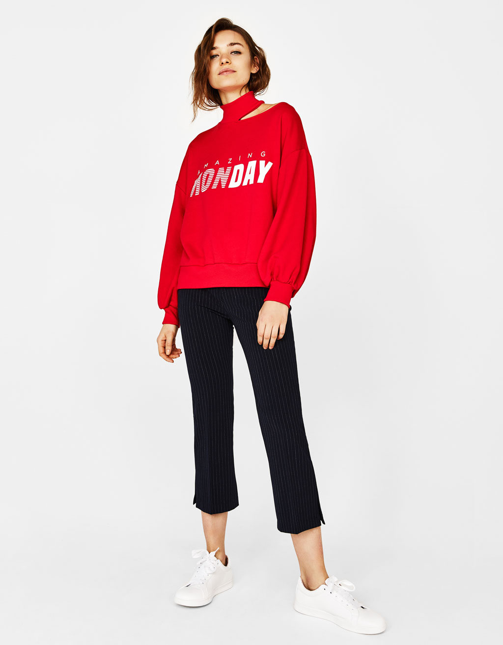 Cut out sweatshirt with slogan