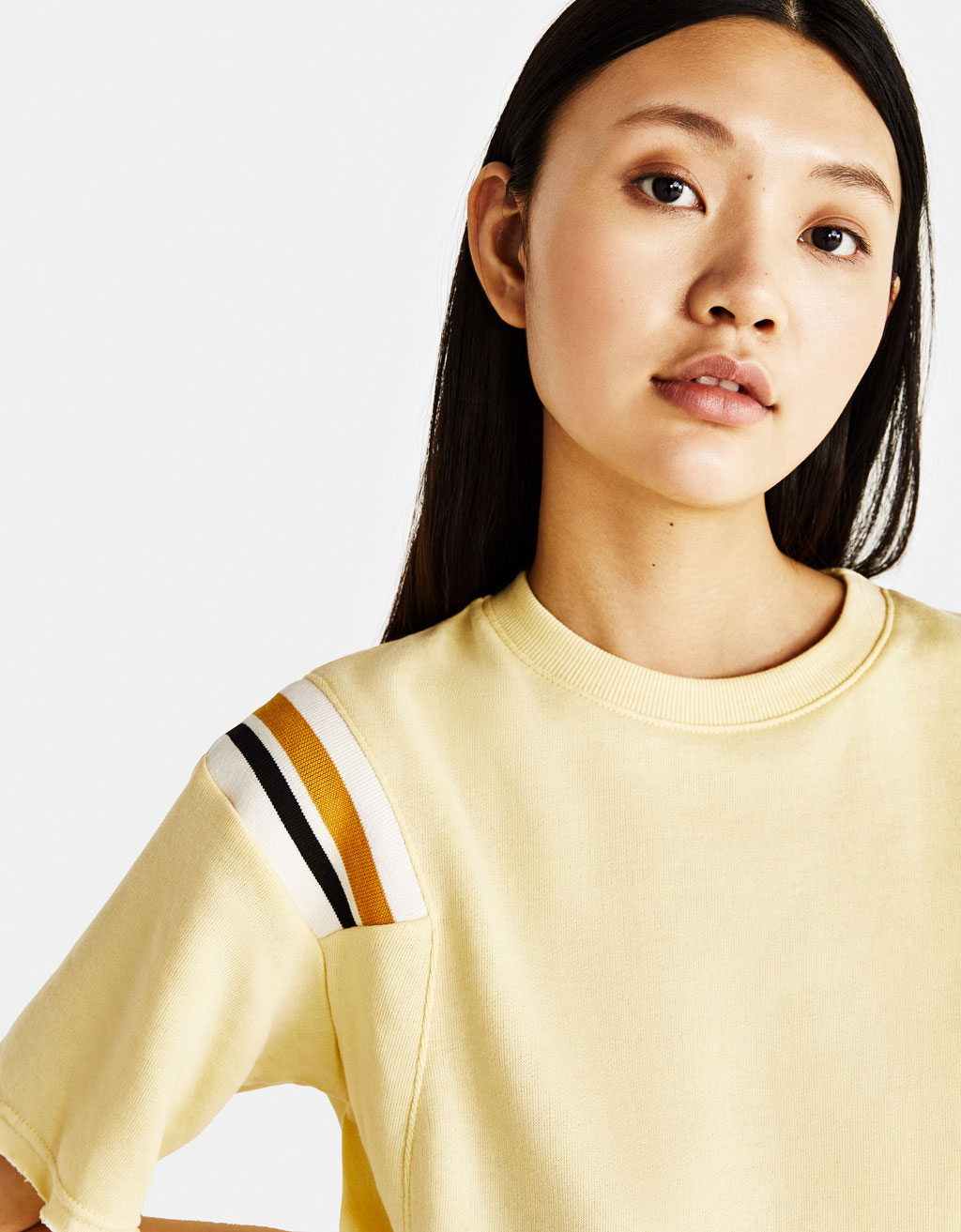 Cropped sweatshirt with stripes