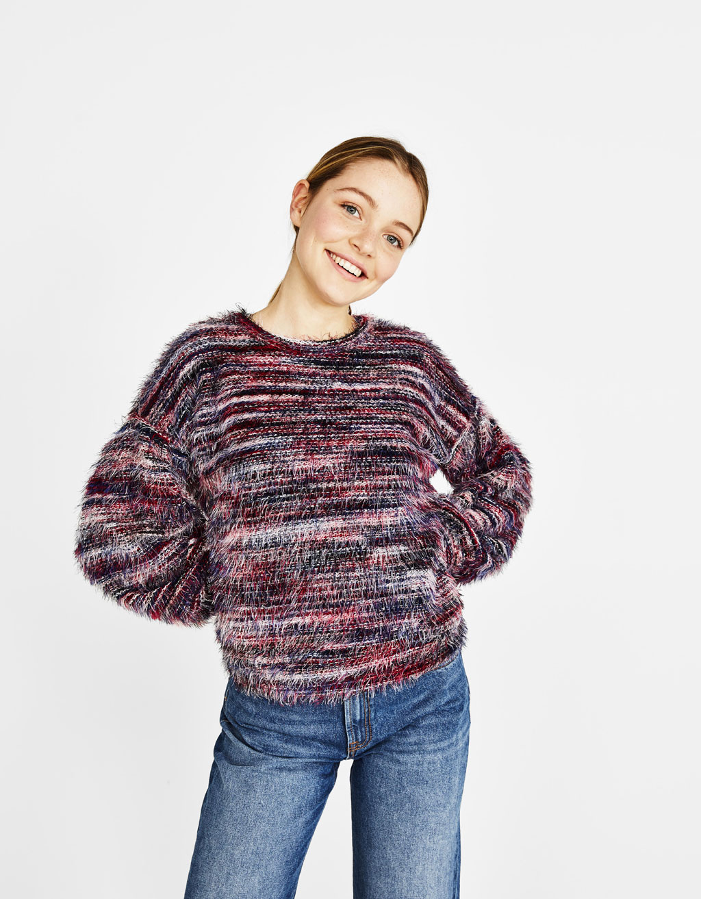 Multicolored faux fur sweater