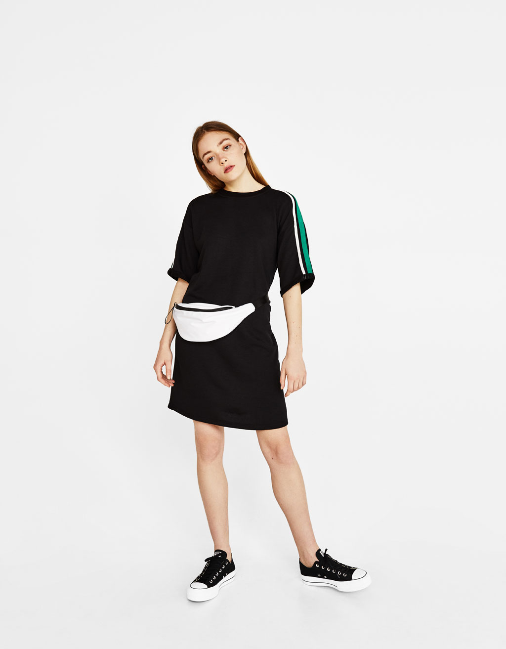 Sweatshirt dress with side stripes