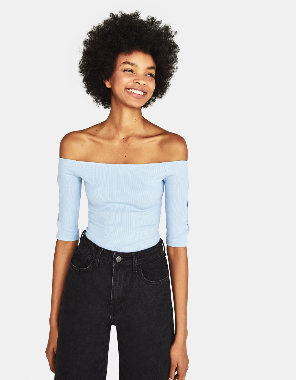 Ribbed bodysuit with lace-up sleeves