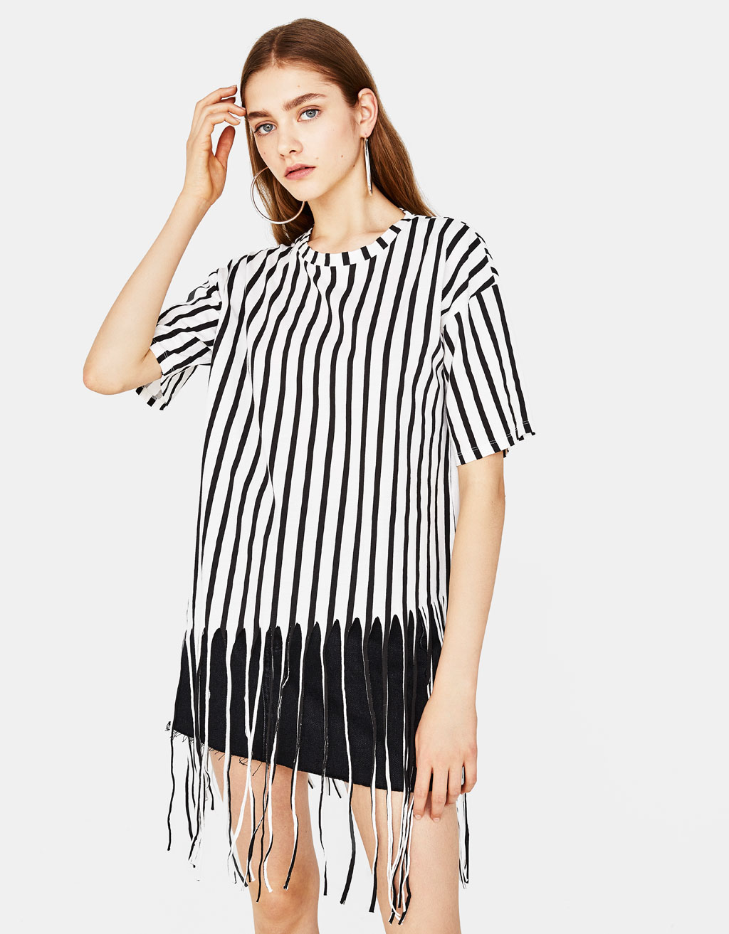 Striped T-shirt with fringing