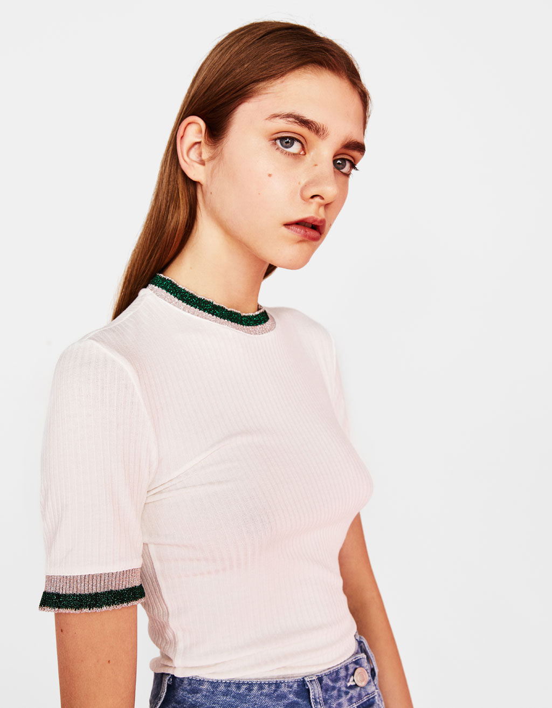 コントラストスリーブTシャツ