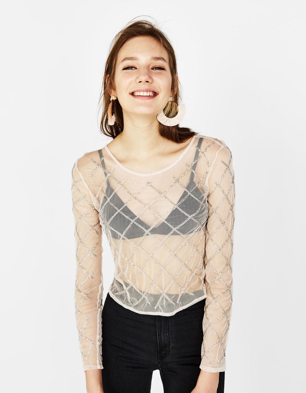 Tylová košeľa s výšivkou a korálikmi