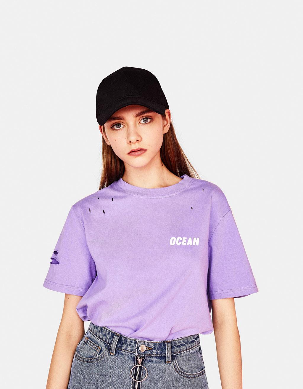 テキストプリント&クラッシュ加工入りTシャツ