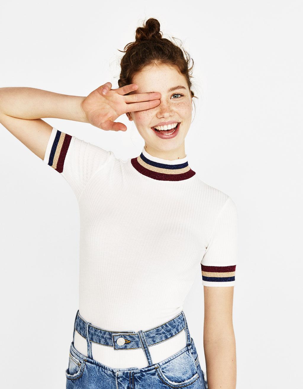 Camiseta cuello perkins contraste