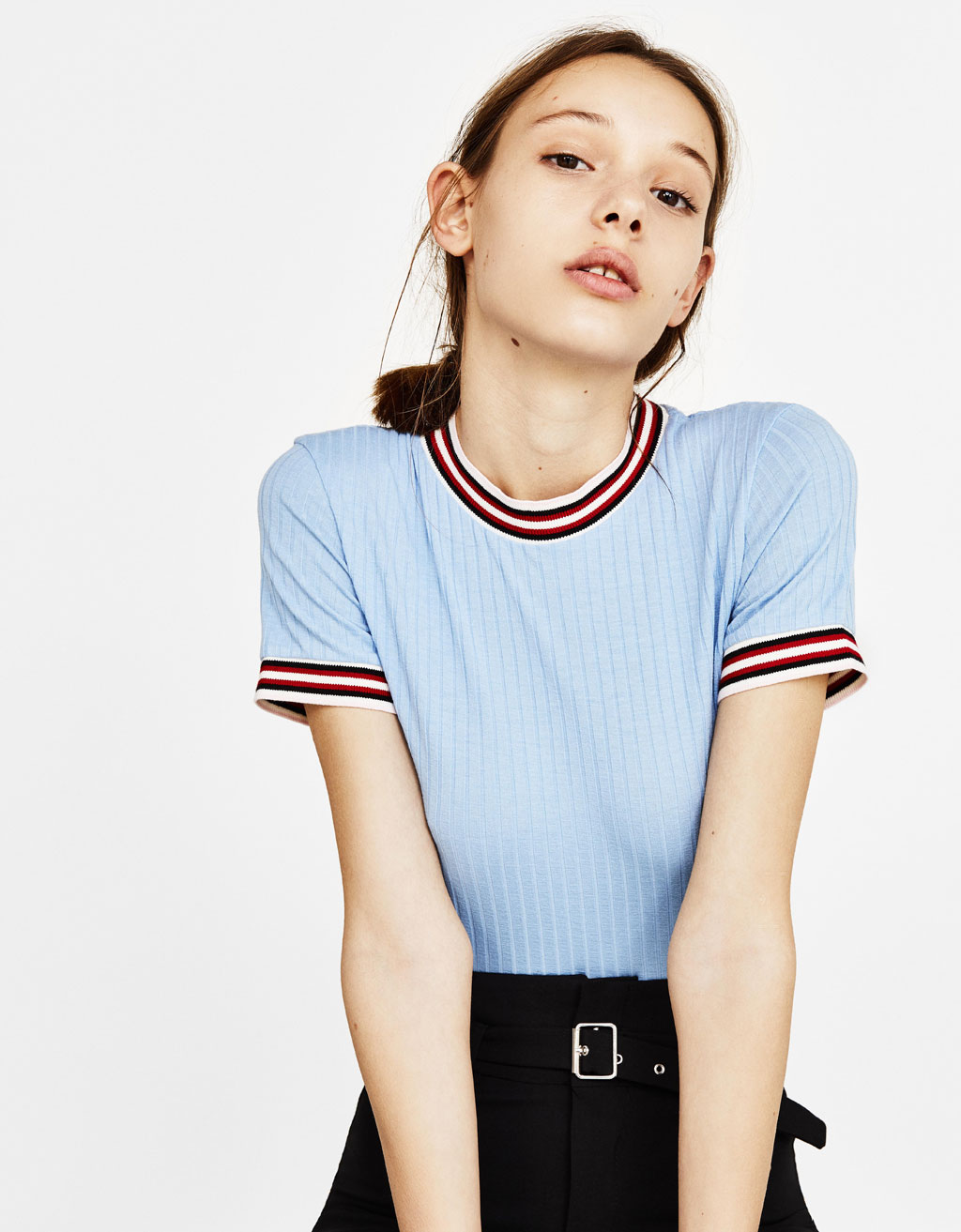 Top with contrasting collar