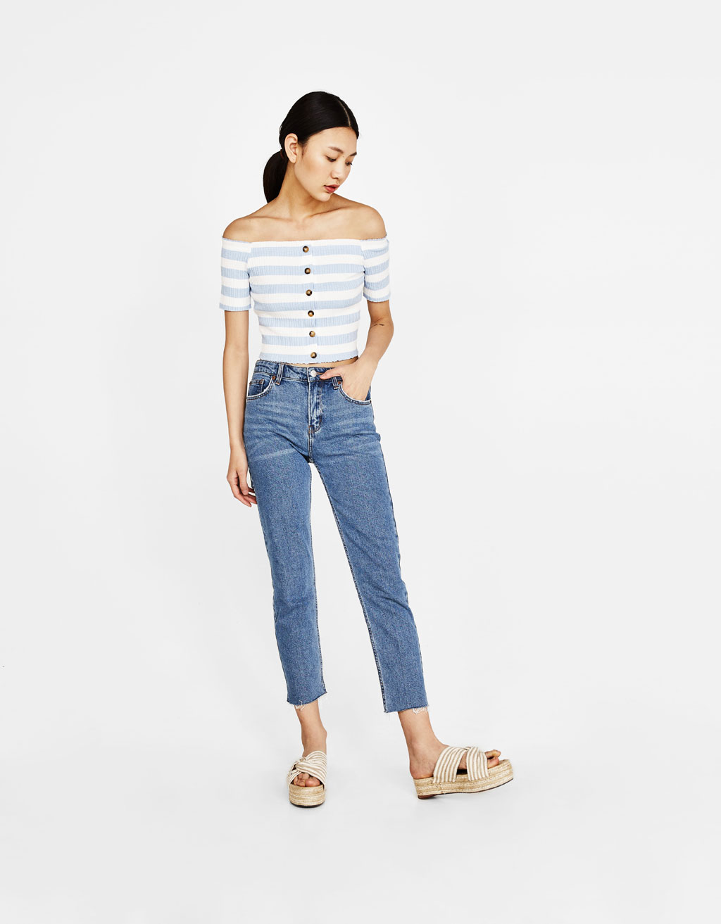 Ribbed button-up top with Bardot neckline