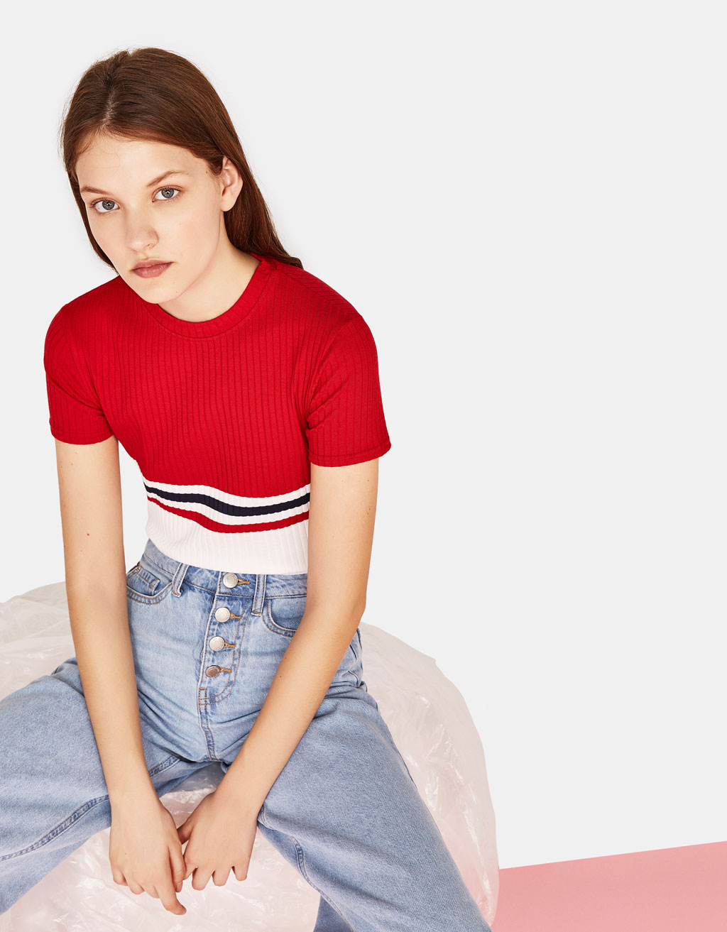 Ribbed T-shirt with stripe print
