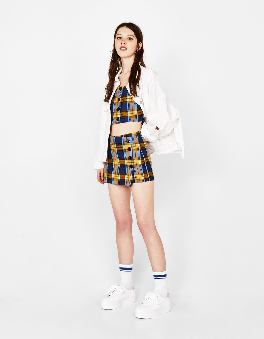 Plaid skort with buttons