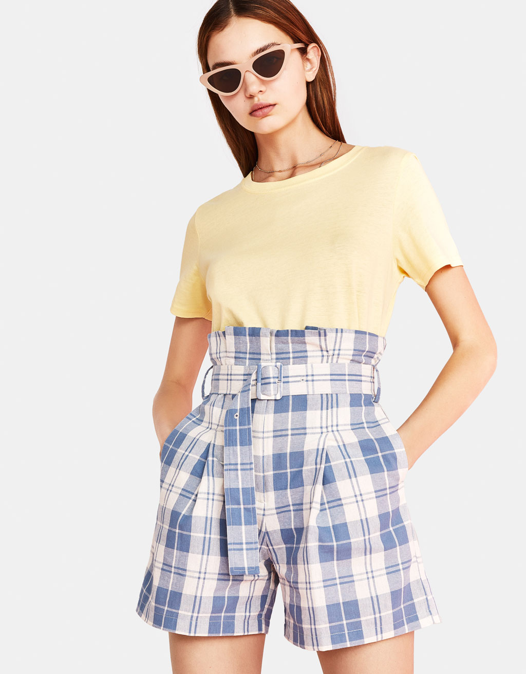 Checked Bermuda shorts with belt