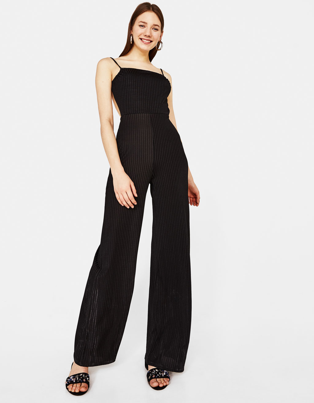 Ribbed jumpsuit with straps