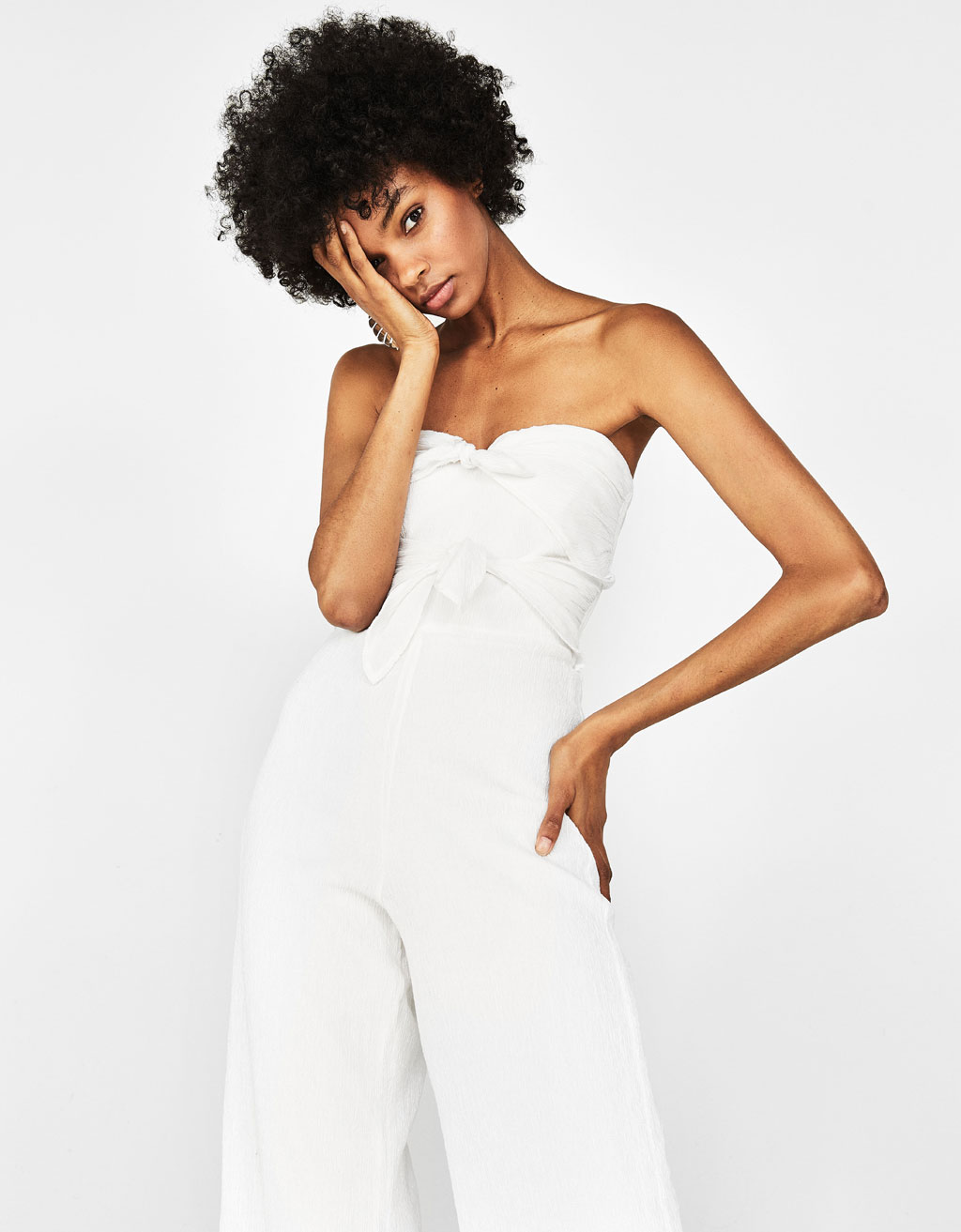 Long crepe jumpsuit with knot detail