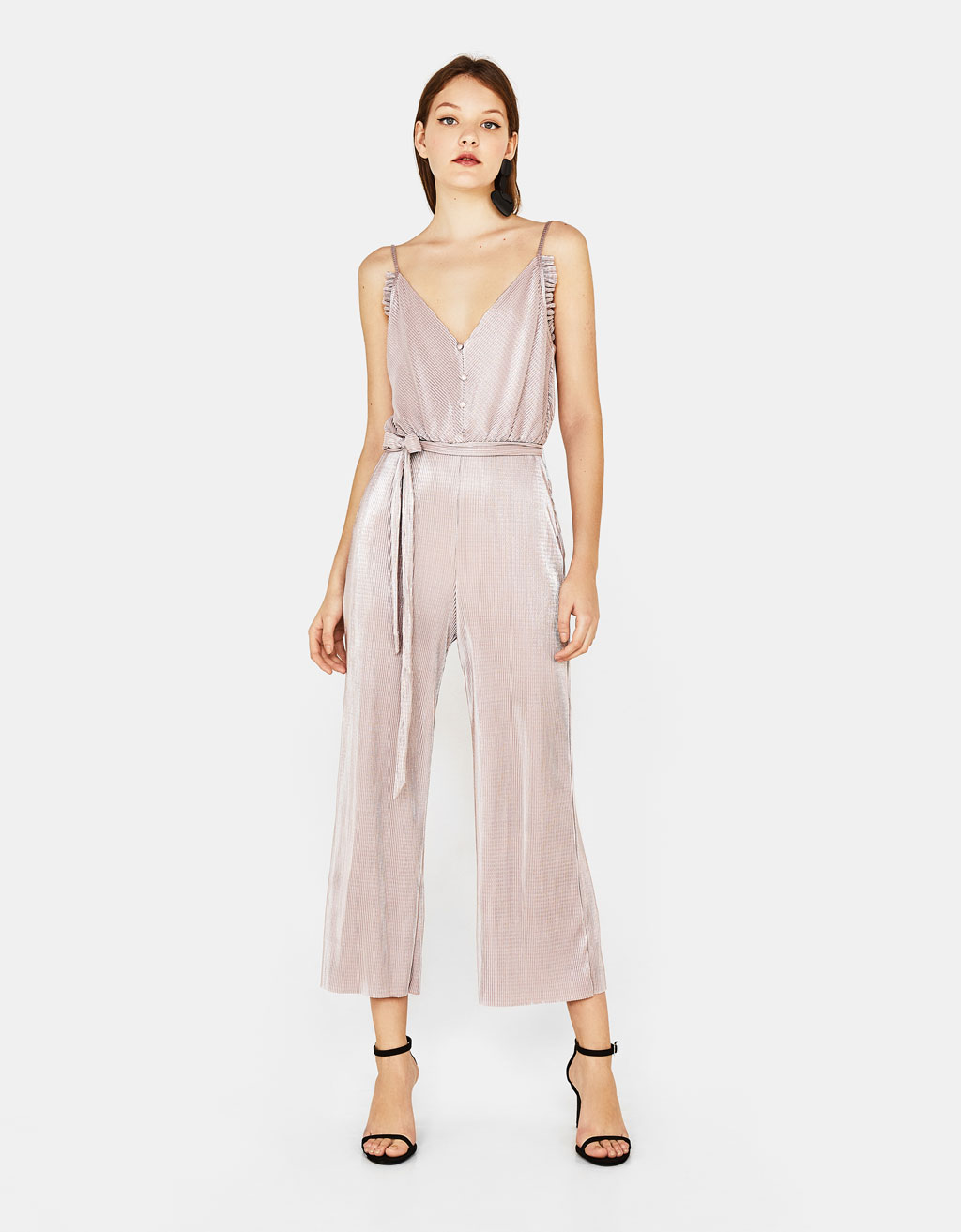Long pleated overalls