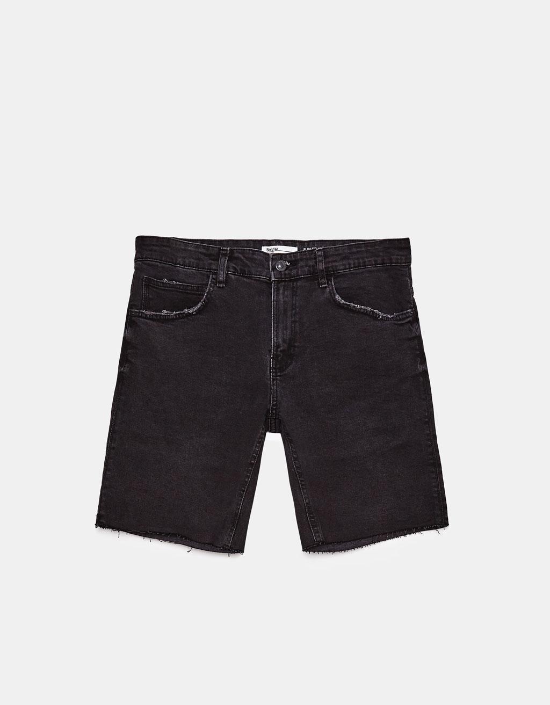 Slim fit comfort denim Bermuda shorts