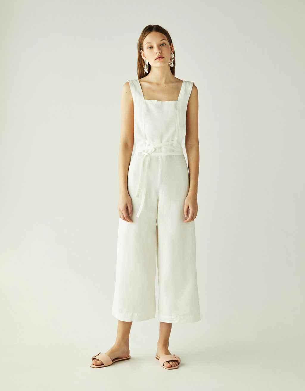 Long linen jumpsuit with belt