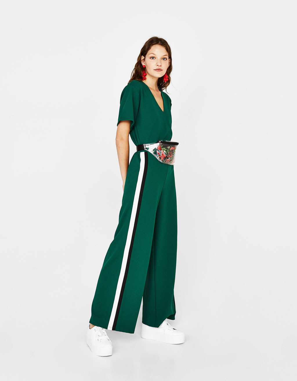 Long jumpsuit with side stripes