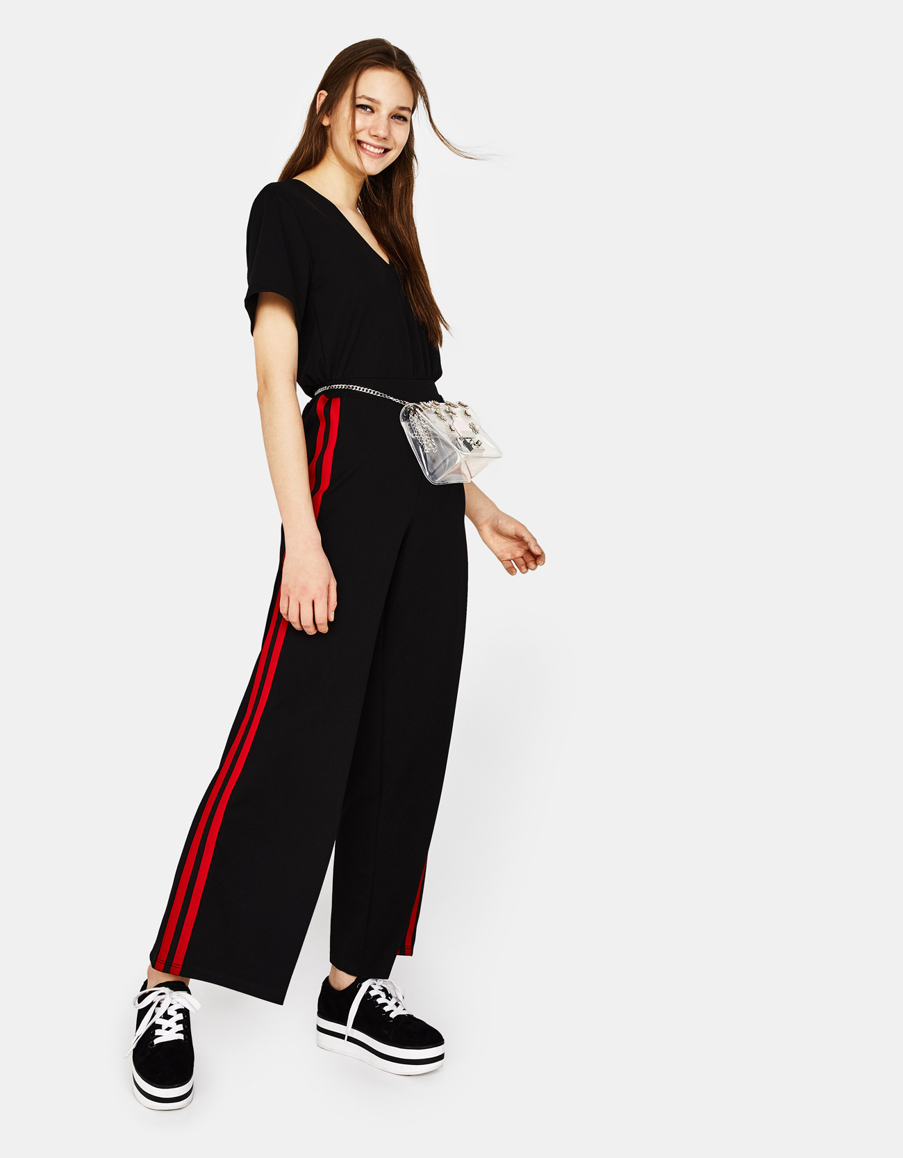 23ac8394765a Long jumpsuit with side stripes - Platforms - Bershka Georgia