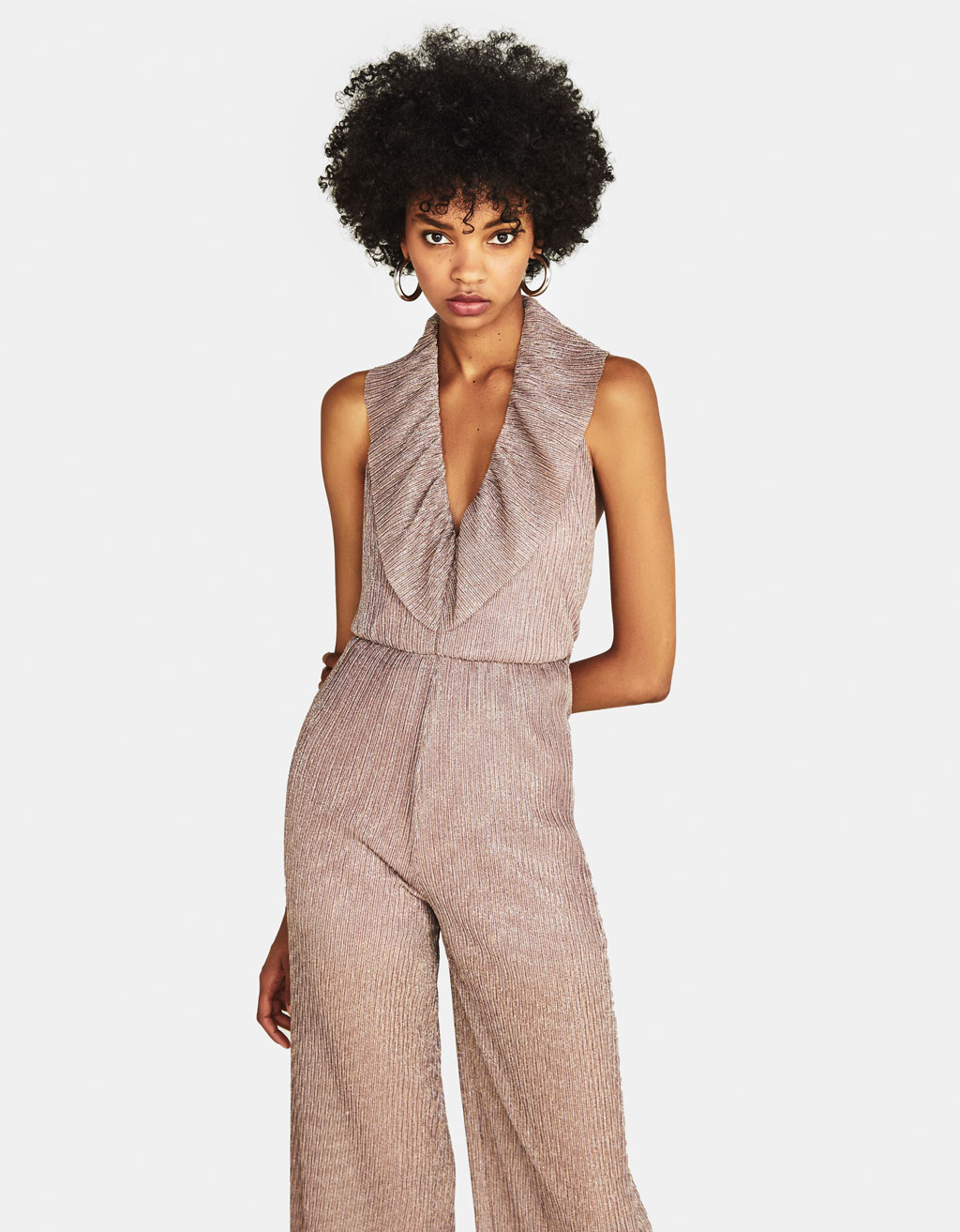 Pleated jumpsuit with ruffle trims