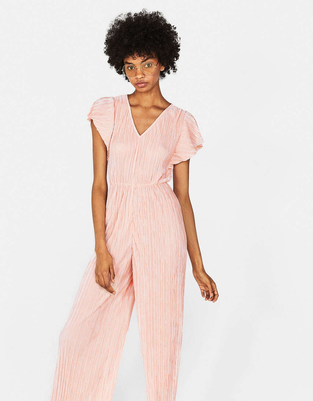 Long pleated jumpsuit with ruffled sleeves