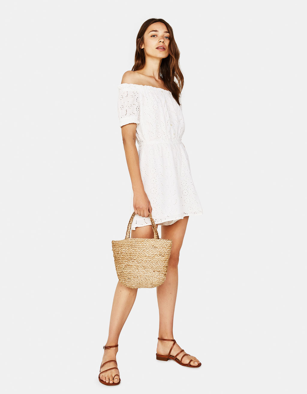 Off-the-shoulder romper with Swiss embroidery