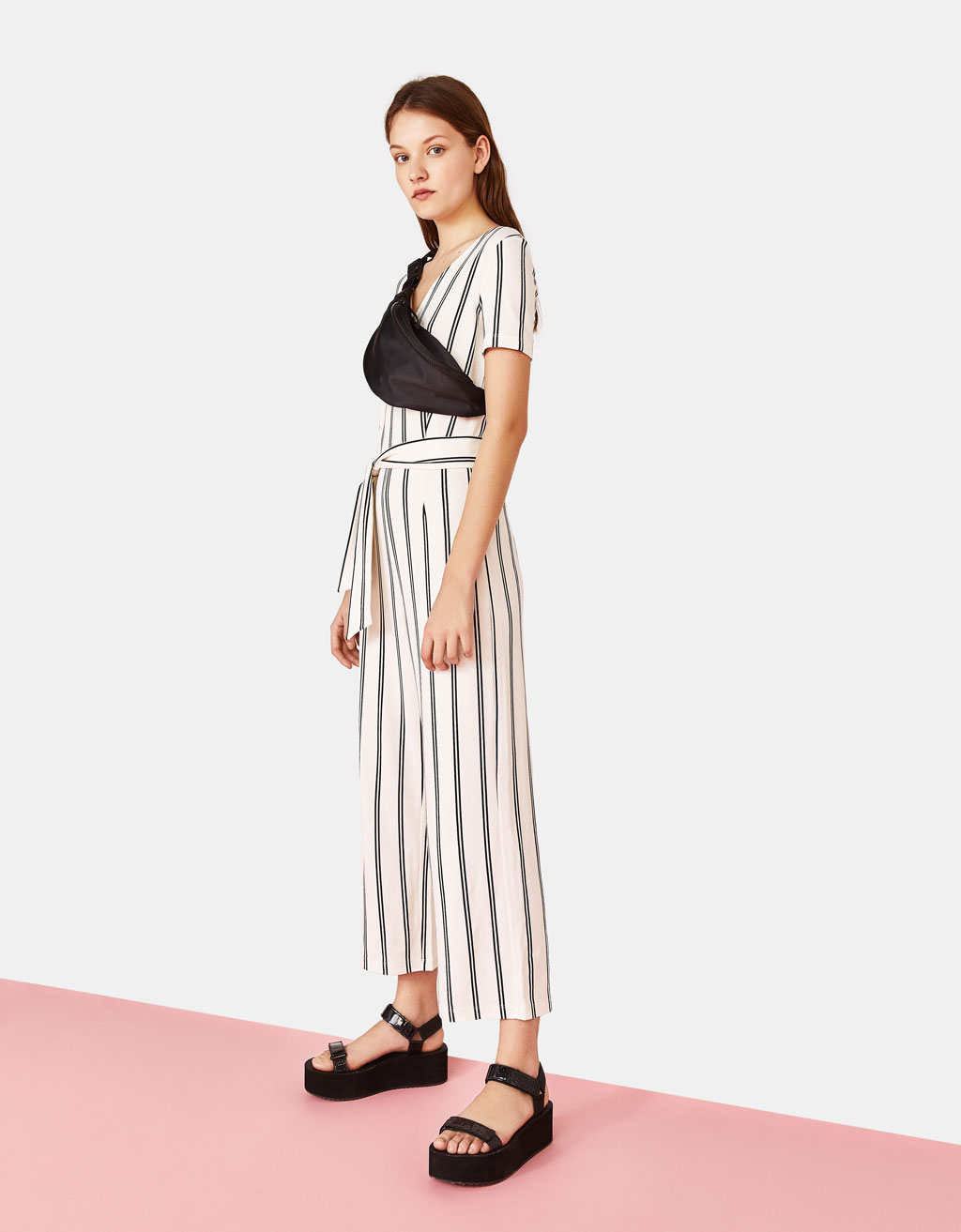 Long jumpsuit with tied belt