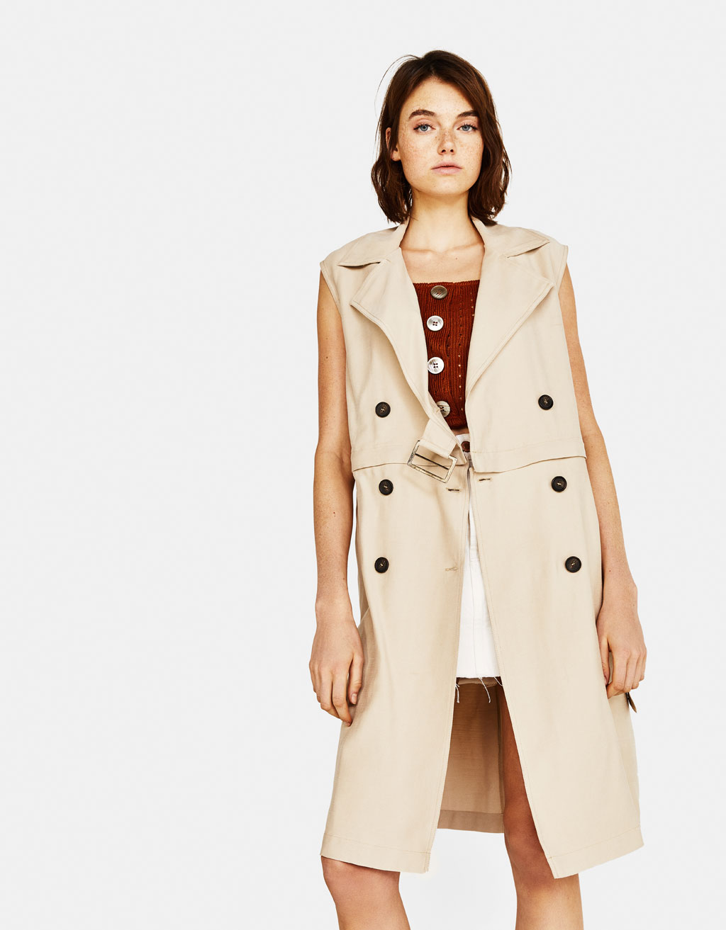 Sleeveless detachable trench coat