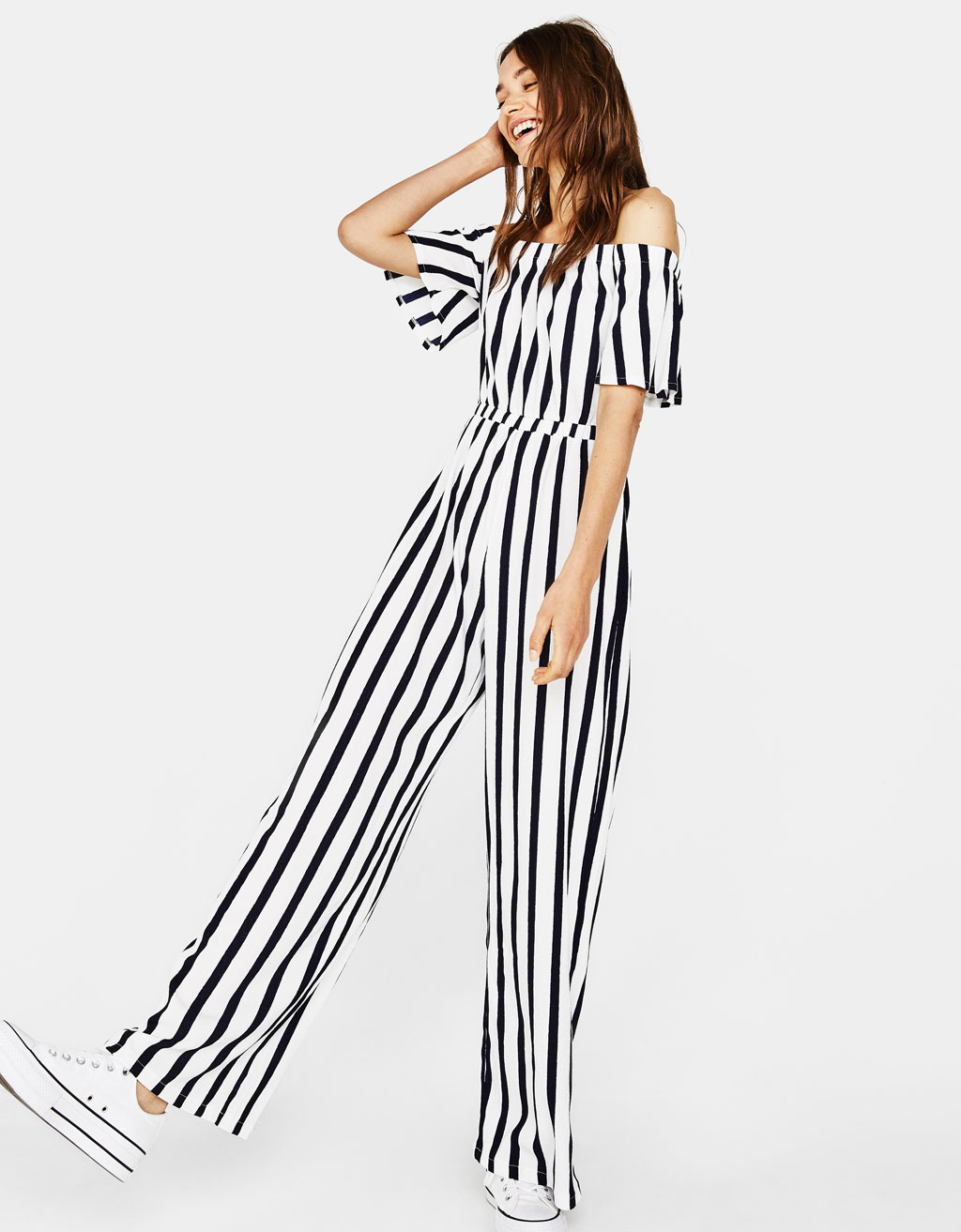 Striped off-the-shoulder overalls