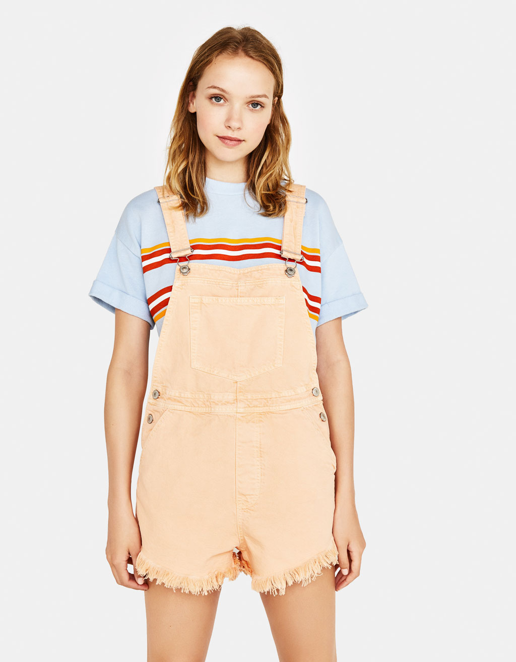 Frayed denim shortalls