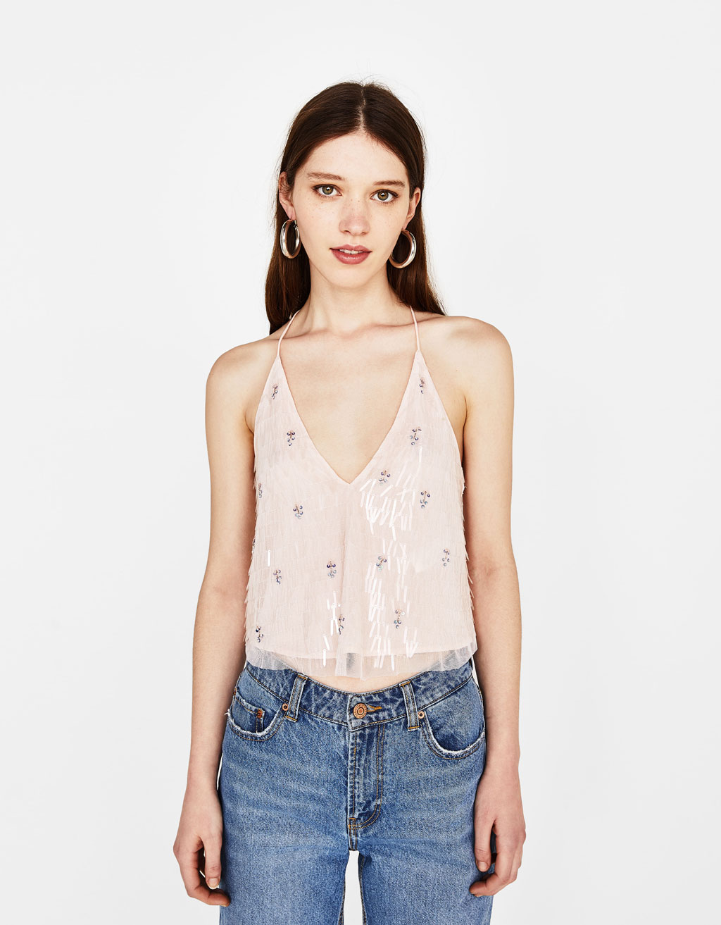 Bejeweled tulle top
