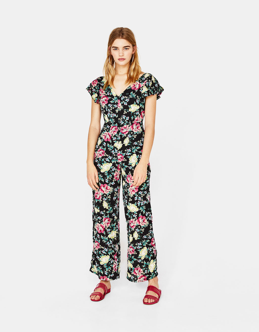 Floral jumpsuit with ruffles