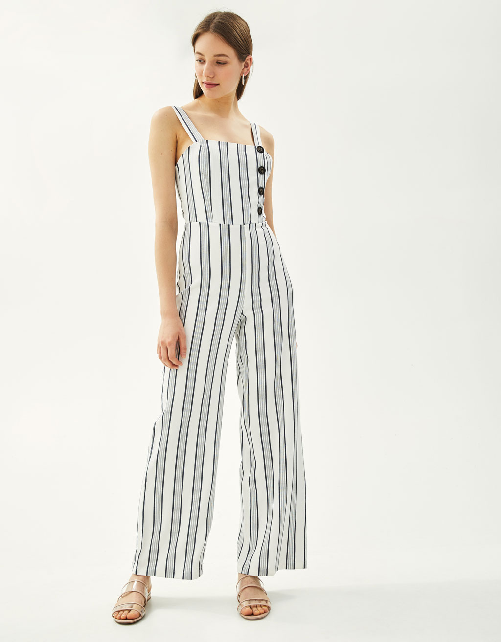 Striped buttoned jumpsuit