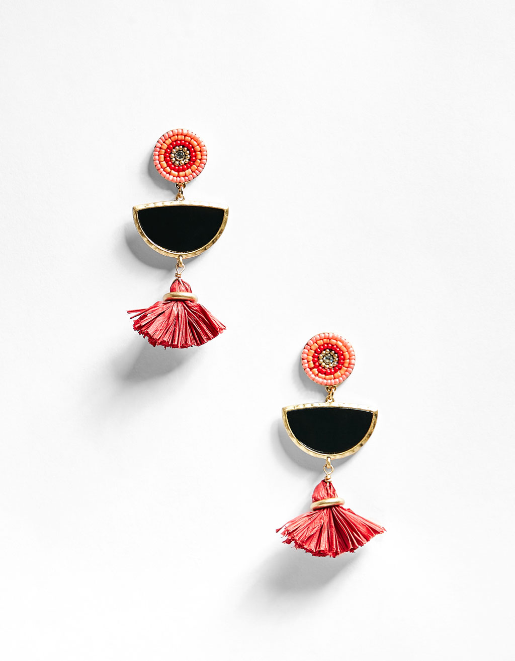 Brooch earrings with mini tassels