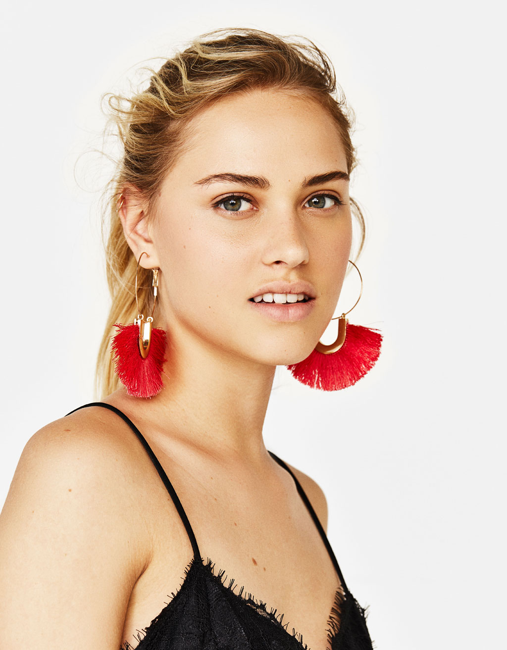 Fringed hoop earrings
