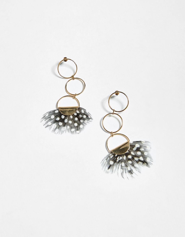 Boucles d'oreilles pendantes à plumes