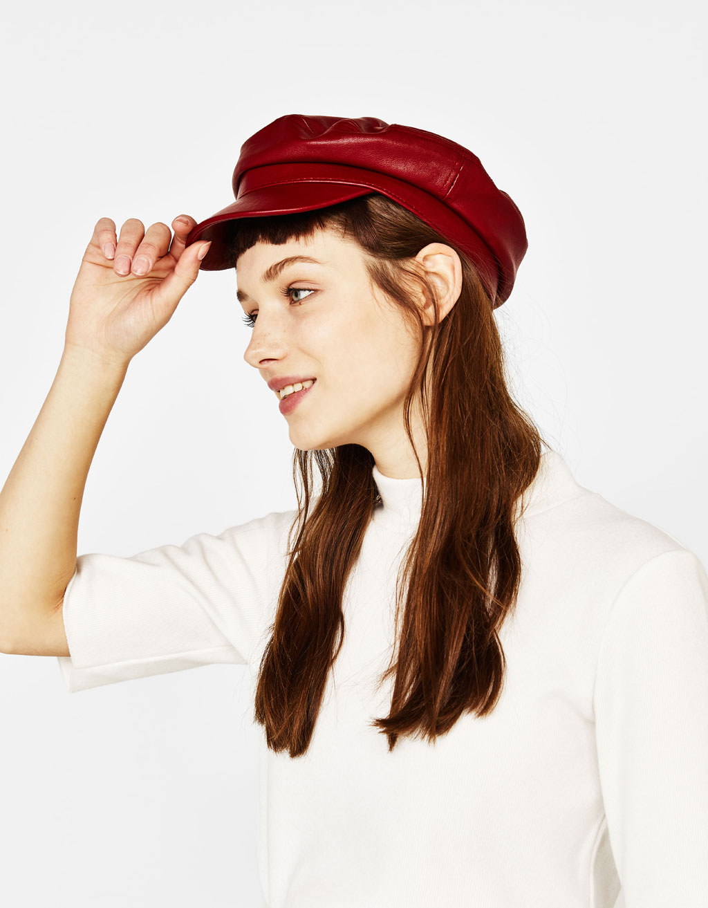 Faux leather nautical cap