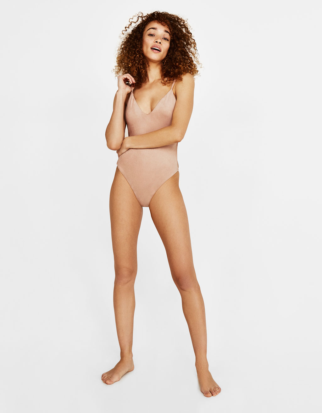 Faux suede swimsuit