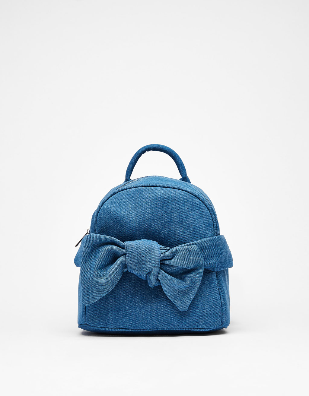 Denim backpack with front knot