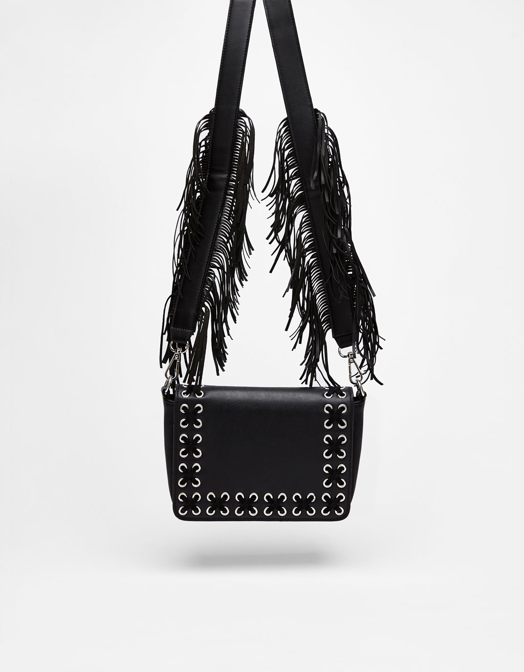 Crossbody bag with fringed shoulder strap