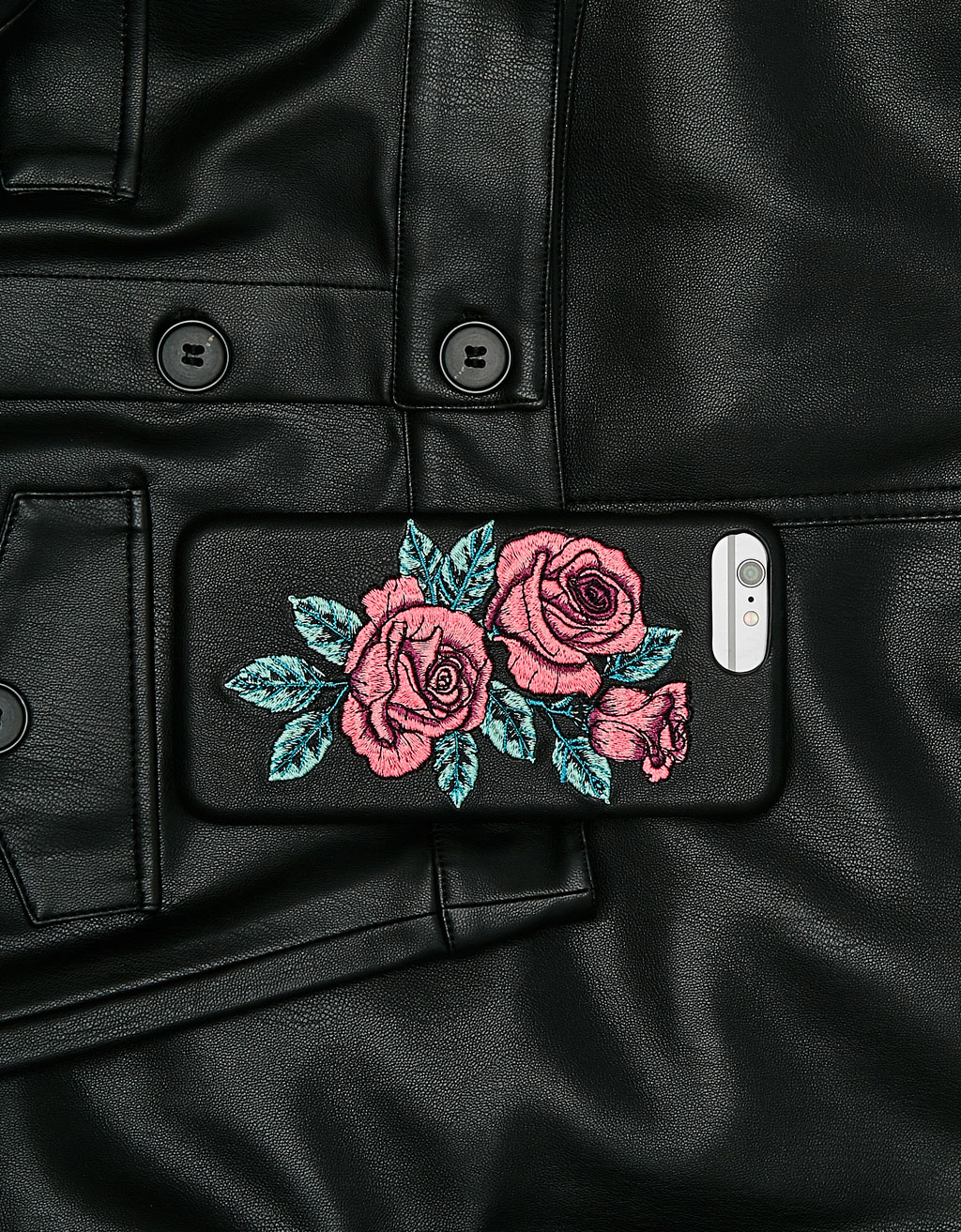 Embroidered rose iPhone 6plus/7plus/8plus case