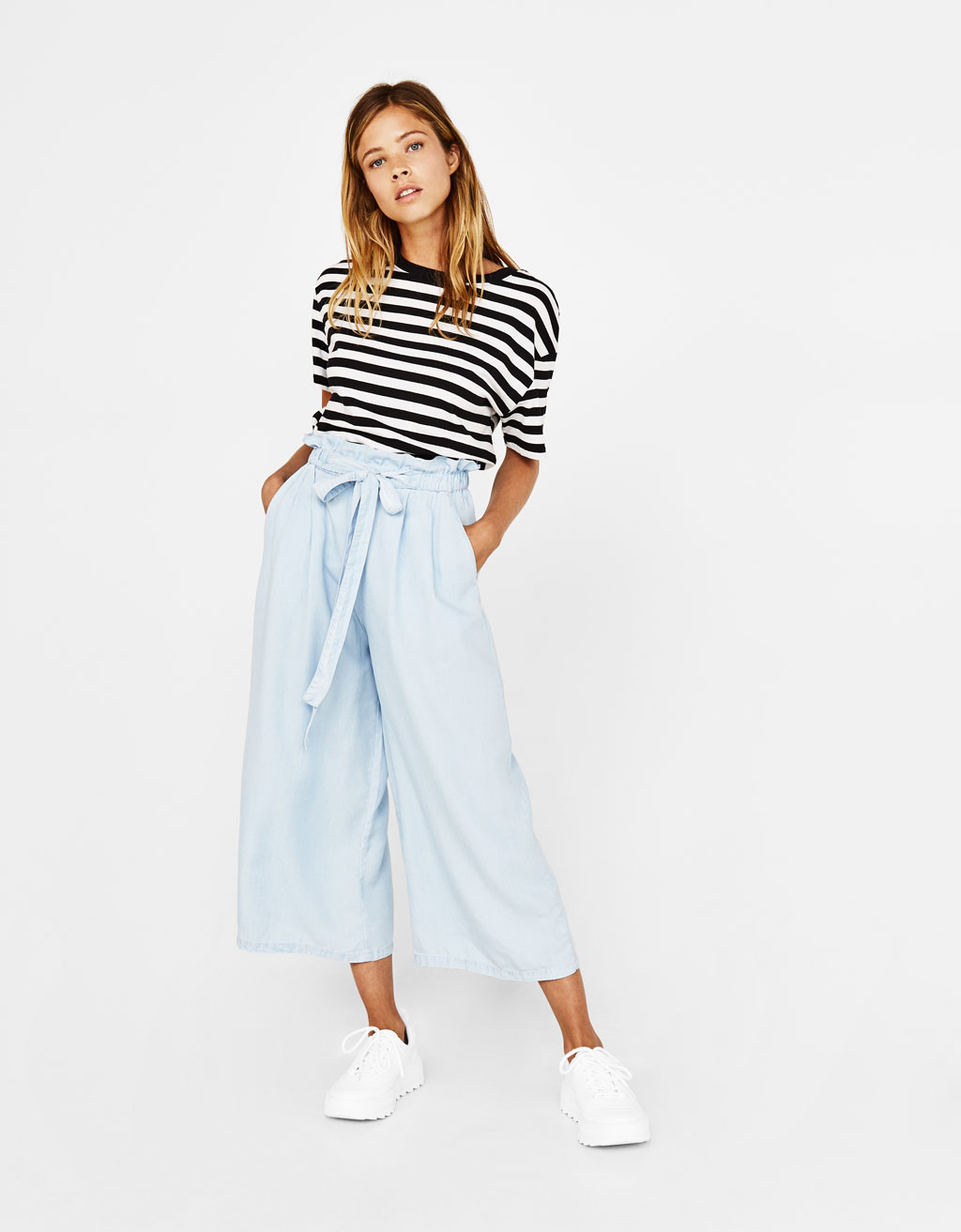 Cropped Tencel® culottes with belt