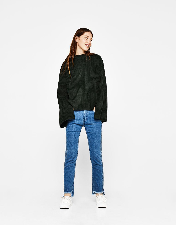 Side zip detail jeans