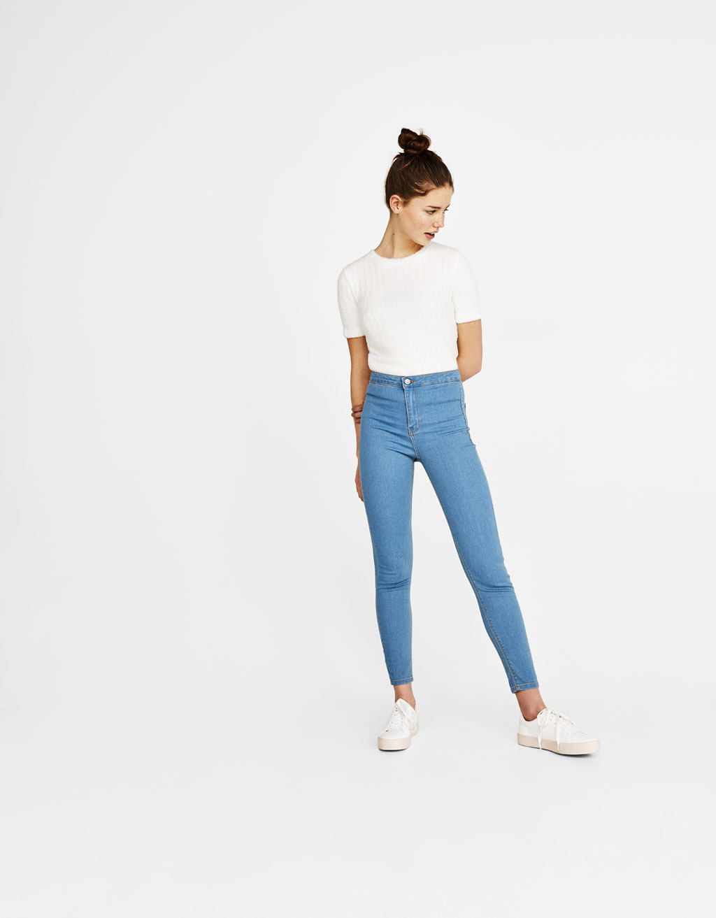 Jegging in denim a vita alta